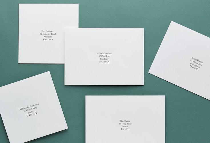 Add recipient addresses - 25p per envelope