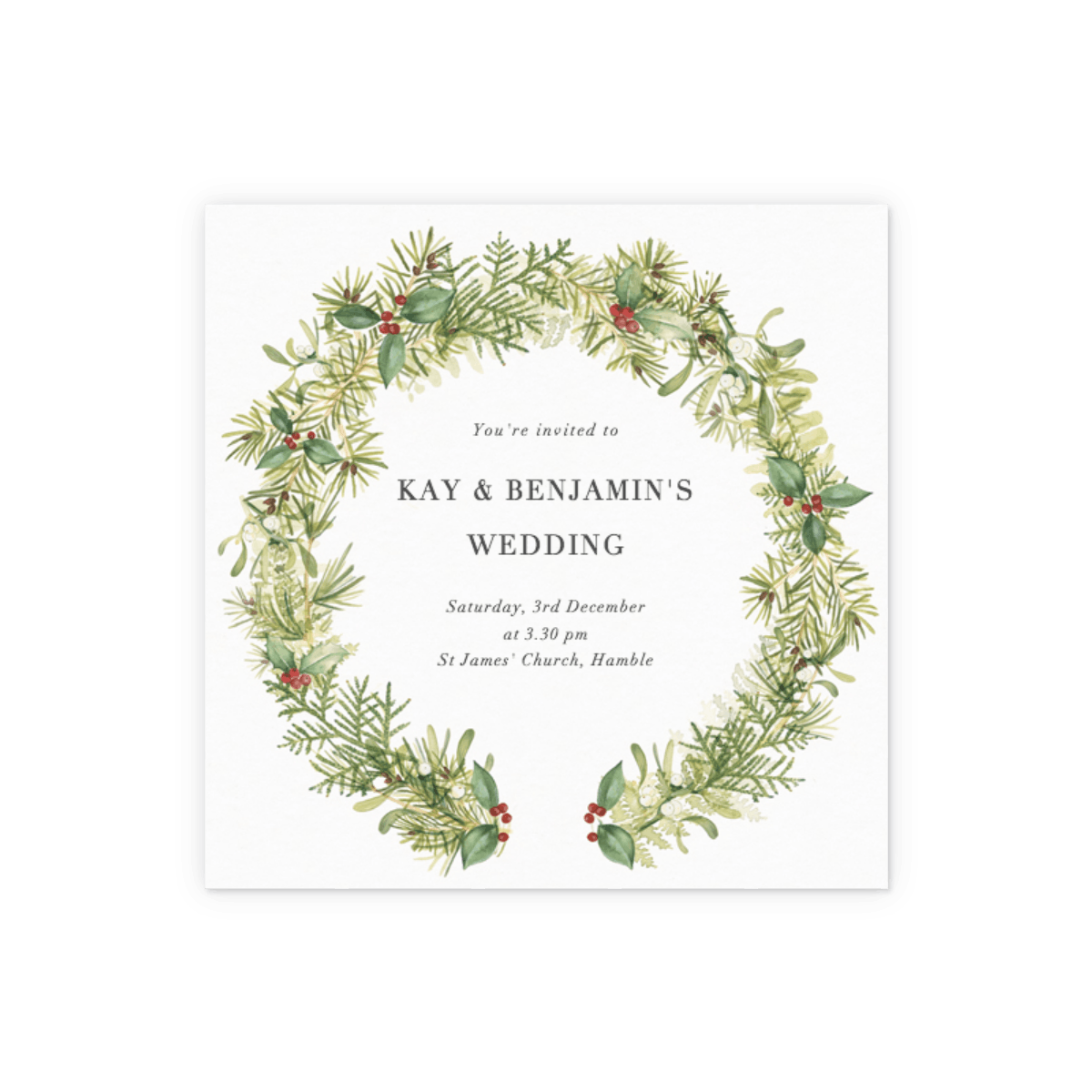 Christmas Wedding Invitations.Winter Wreath