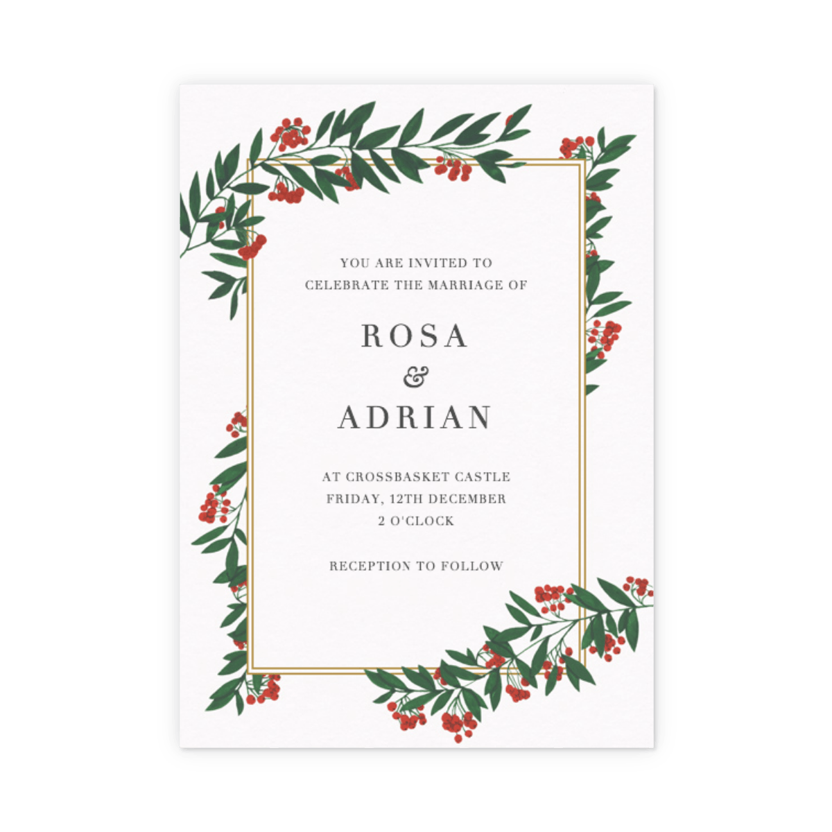 Christmas Wedding Invitations.Winter Red Berries