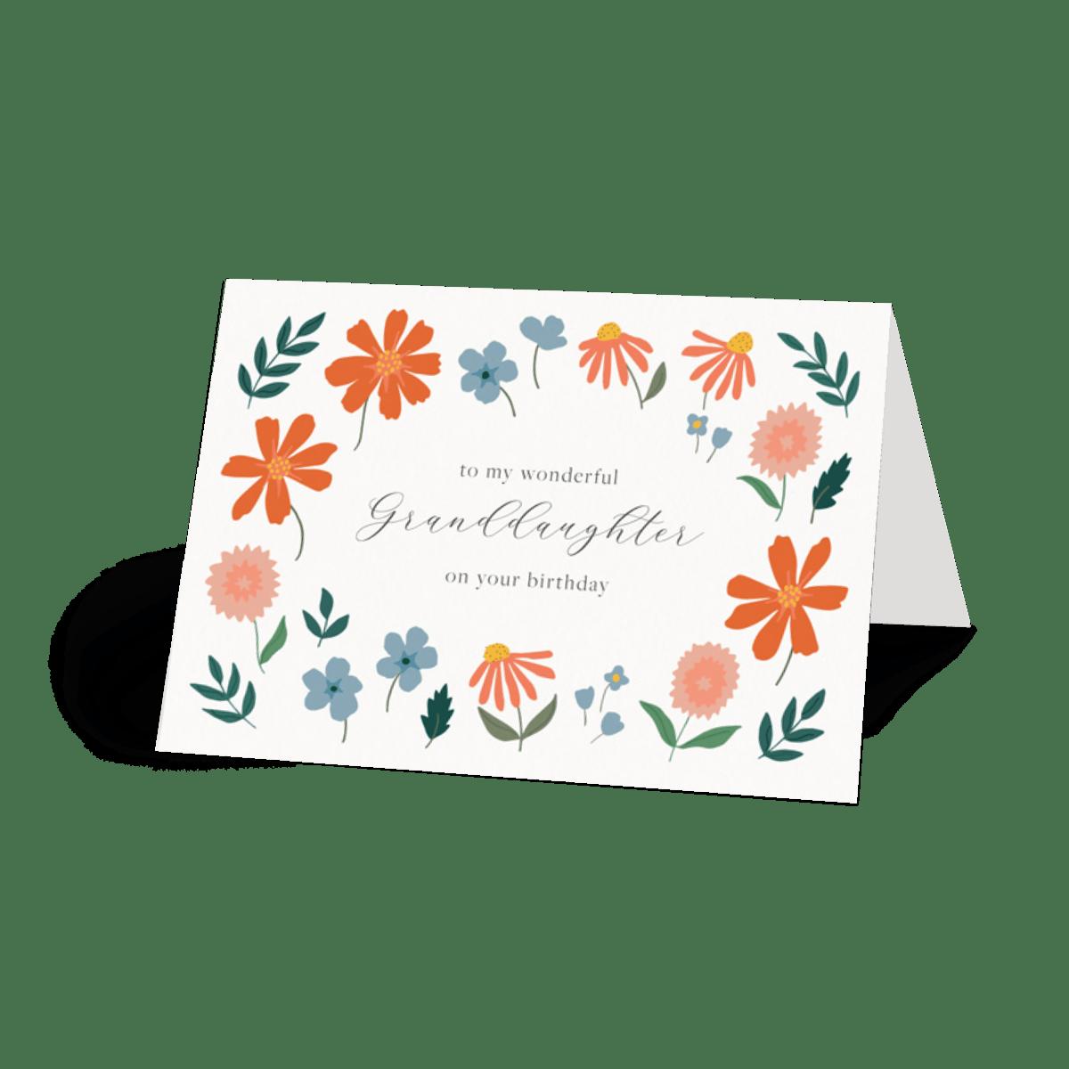 floral granddaughter  granddaughter floral birthday card