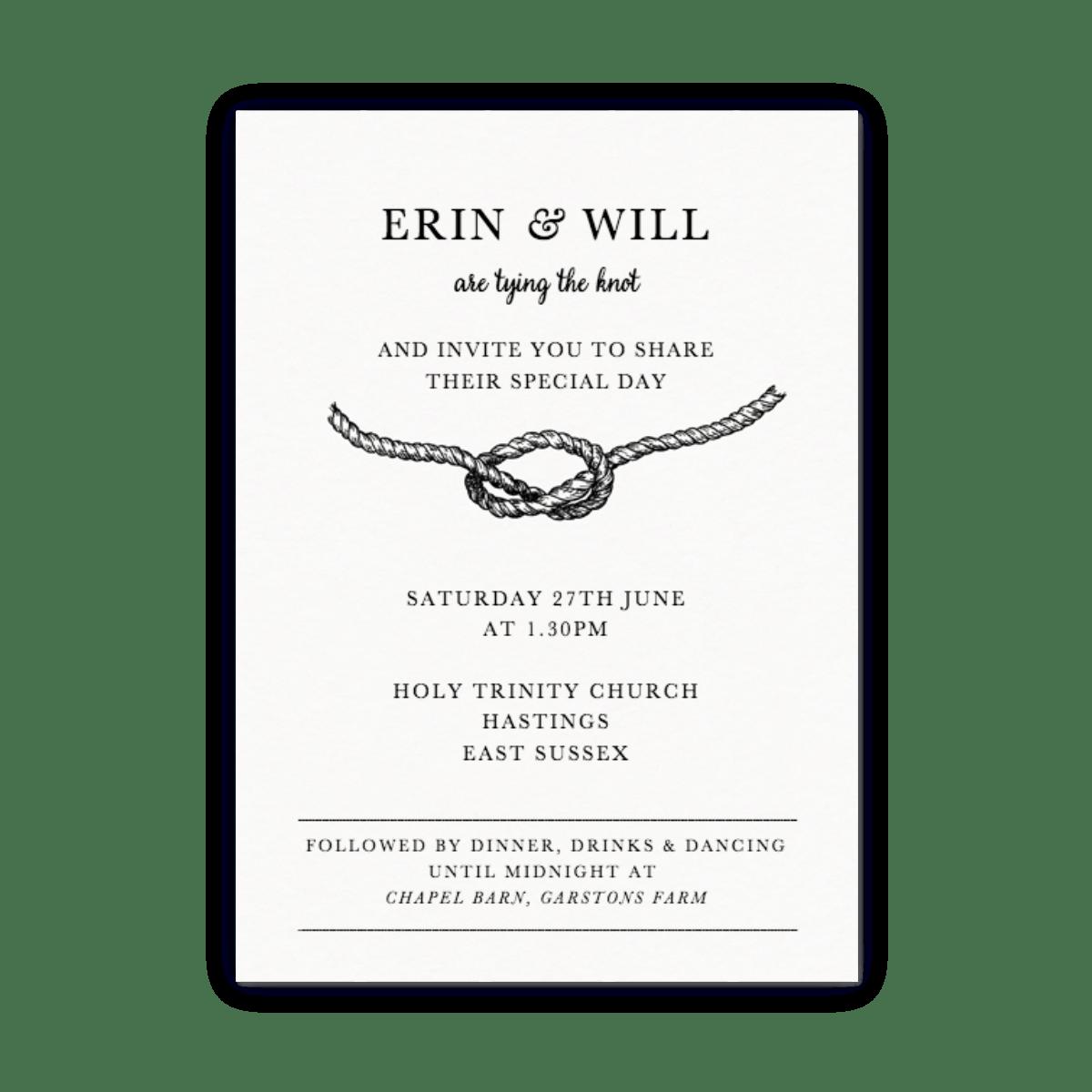 Tie The Knot Wedding Invitation Papier
