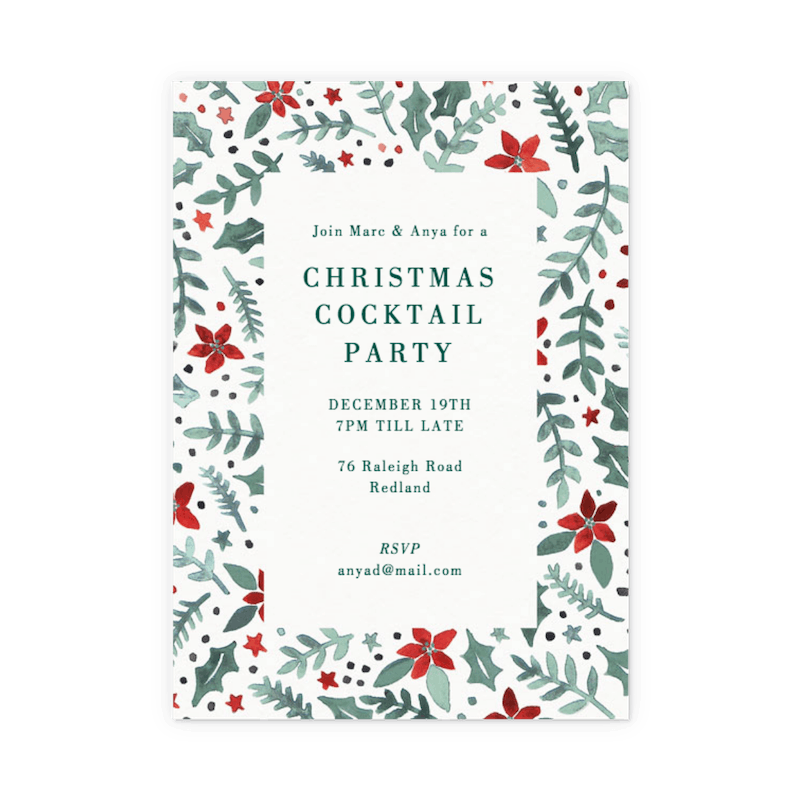merry christmas new 2019 year invitation card vector illustration stock vector poinsettia scatter