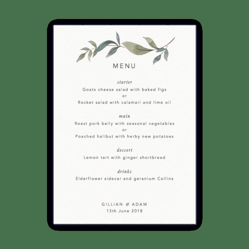 Customisable wedding menu cards papier foliage junglespirit Gallery