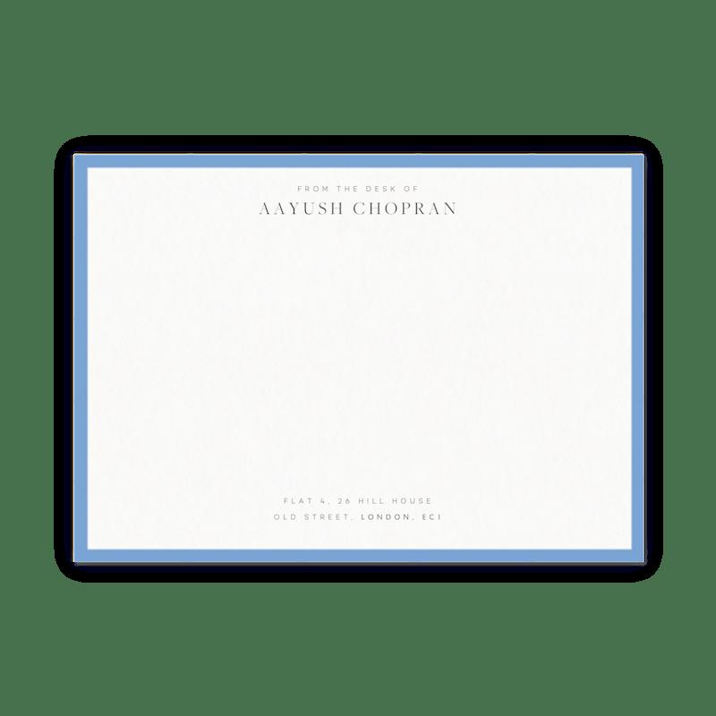 cornflower blue border wedding invitation papier