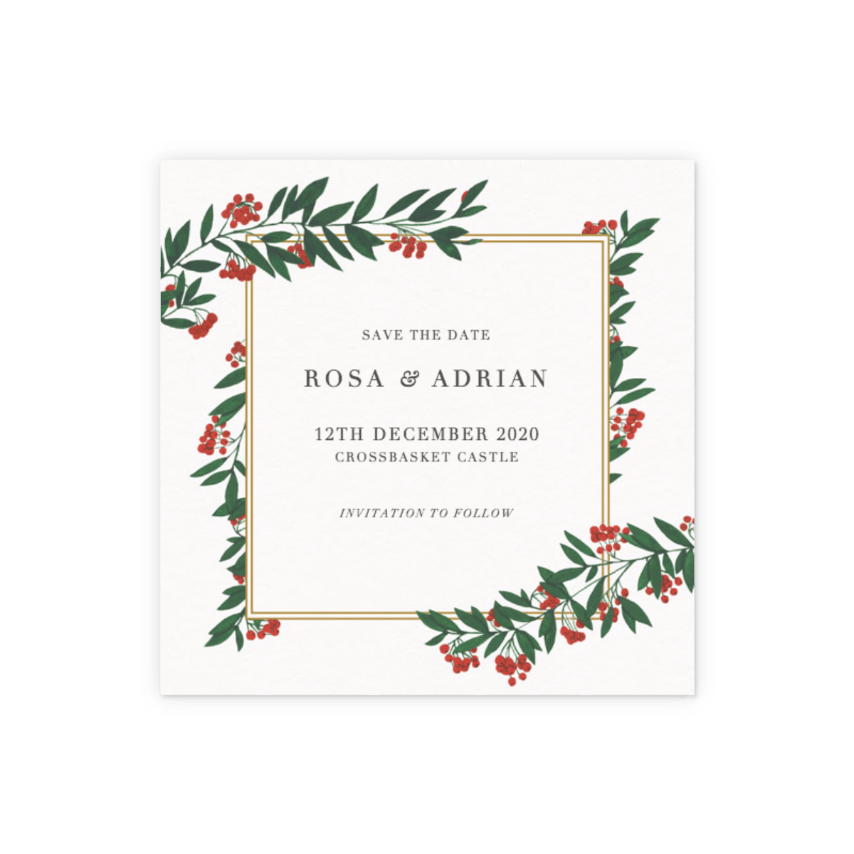 Christmas Save The Date.Winter Red Berries