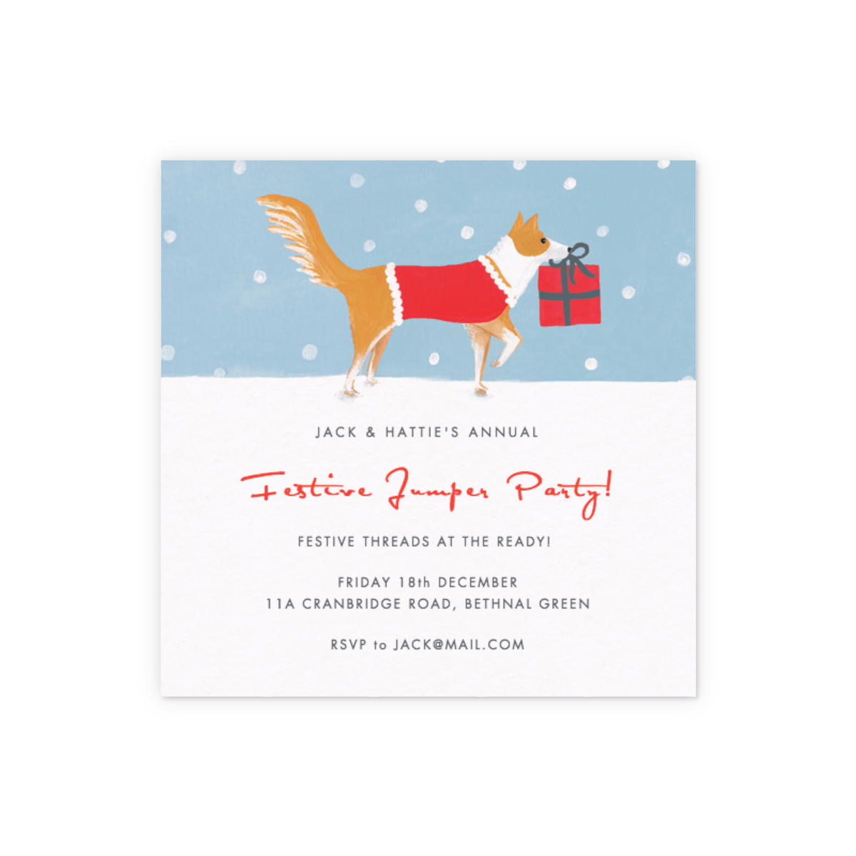 Christmas Collie Party Invitation