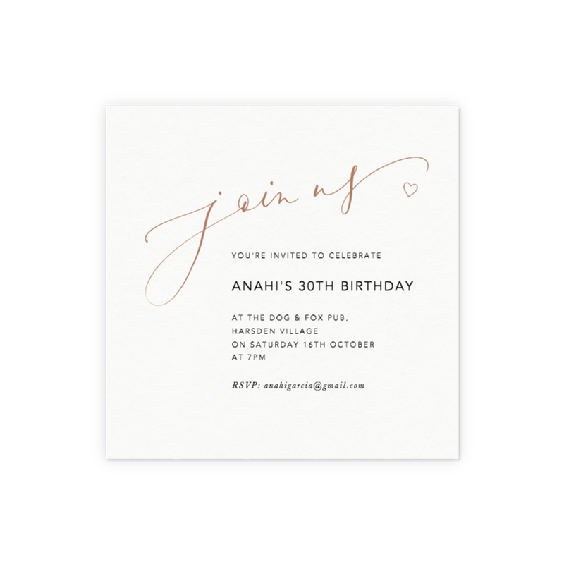 Customisable invitations create order online papier join us love heart bronze stopboris Gallery