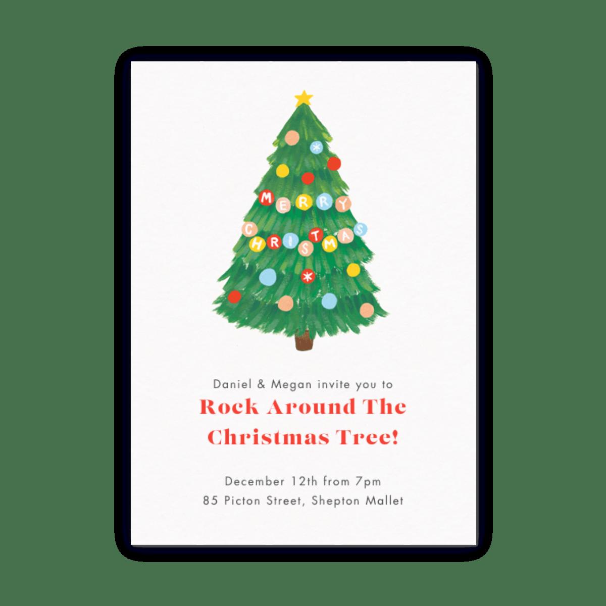 Christmas Invitation.Christmas Tree Baubles