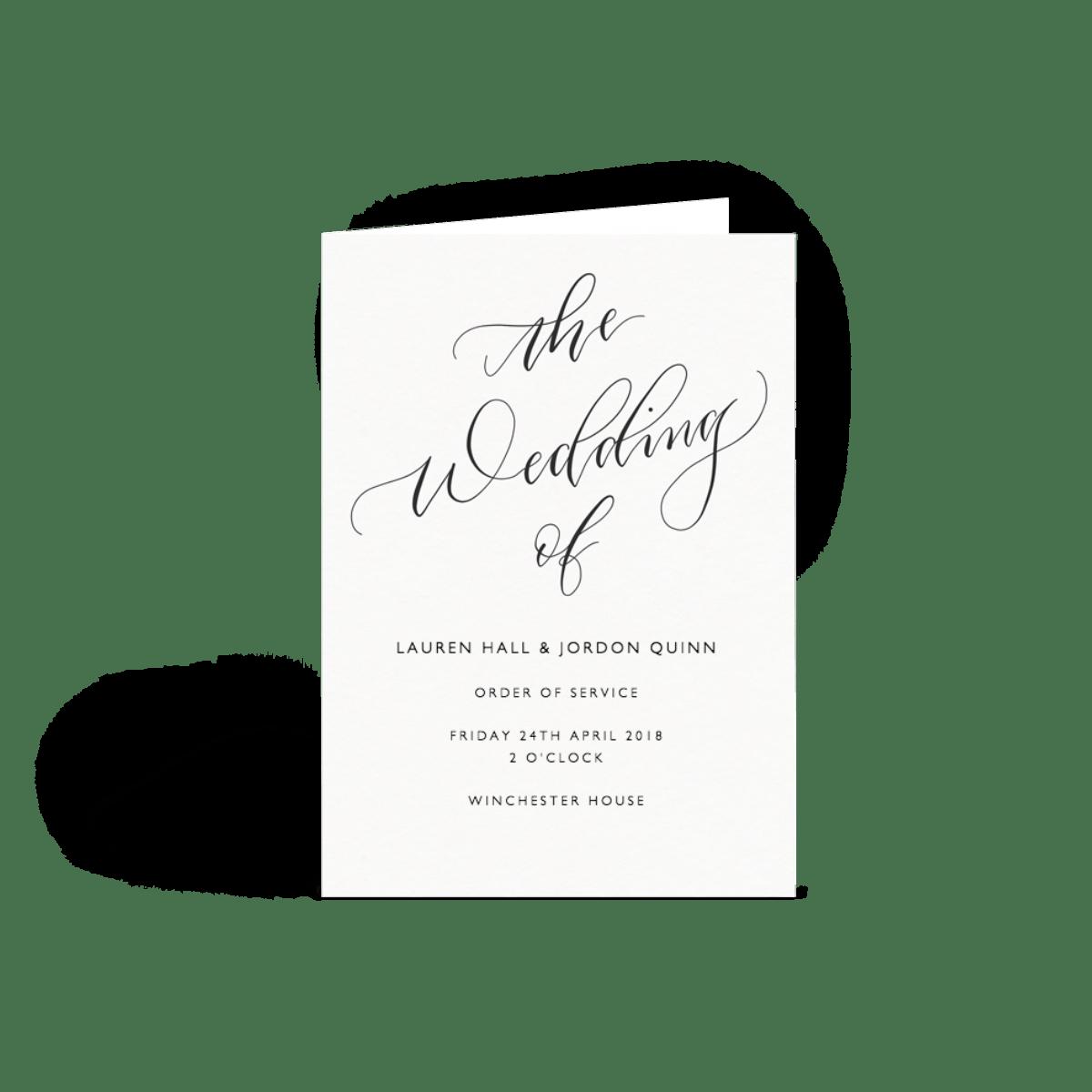 Wedding Order Of Service.Order Of Service Cards Wedding Programs Papier