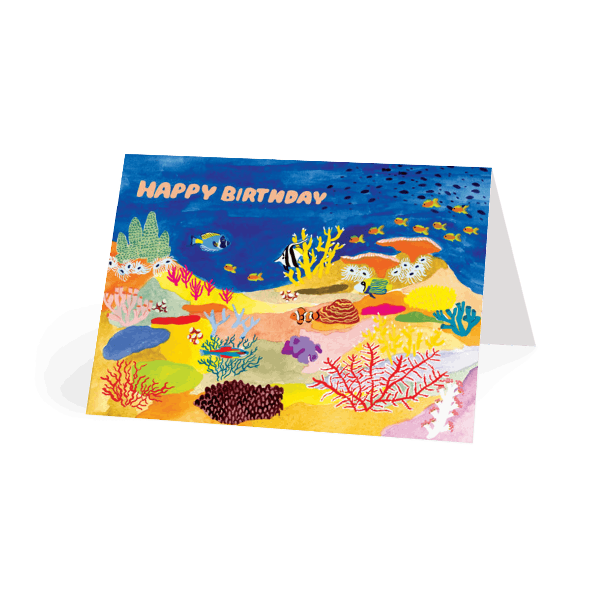 coral reef  birthday card  papier