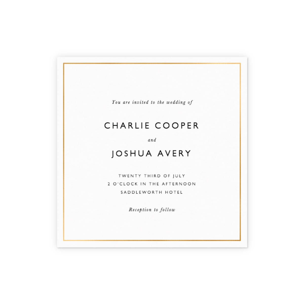 Metallic Gold Border | Foiled Wedding Invitation | Papier