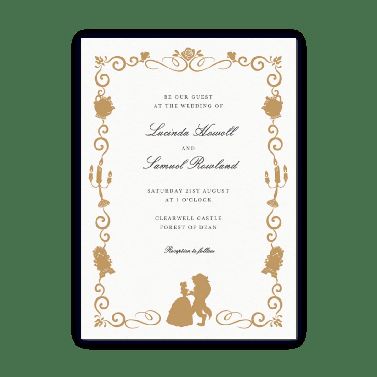 Beauty The Beast Gold Wedding Invitation Papier