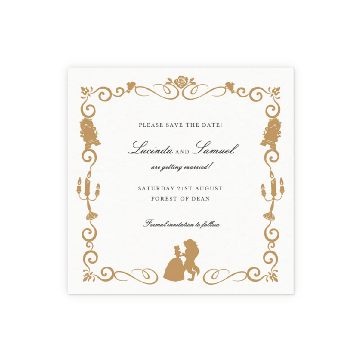 Beauty The Beast Gold Save The Date Papier