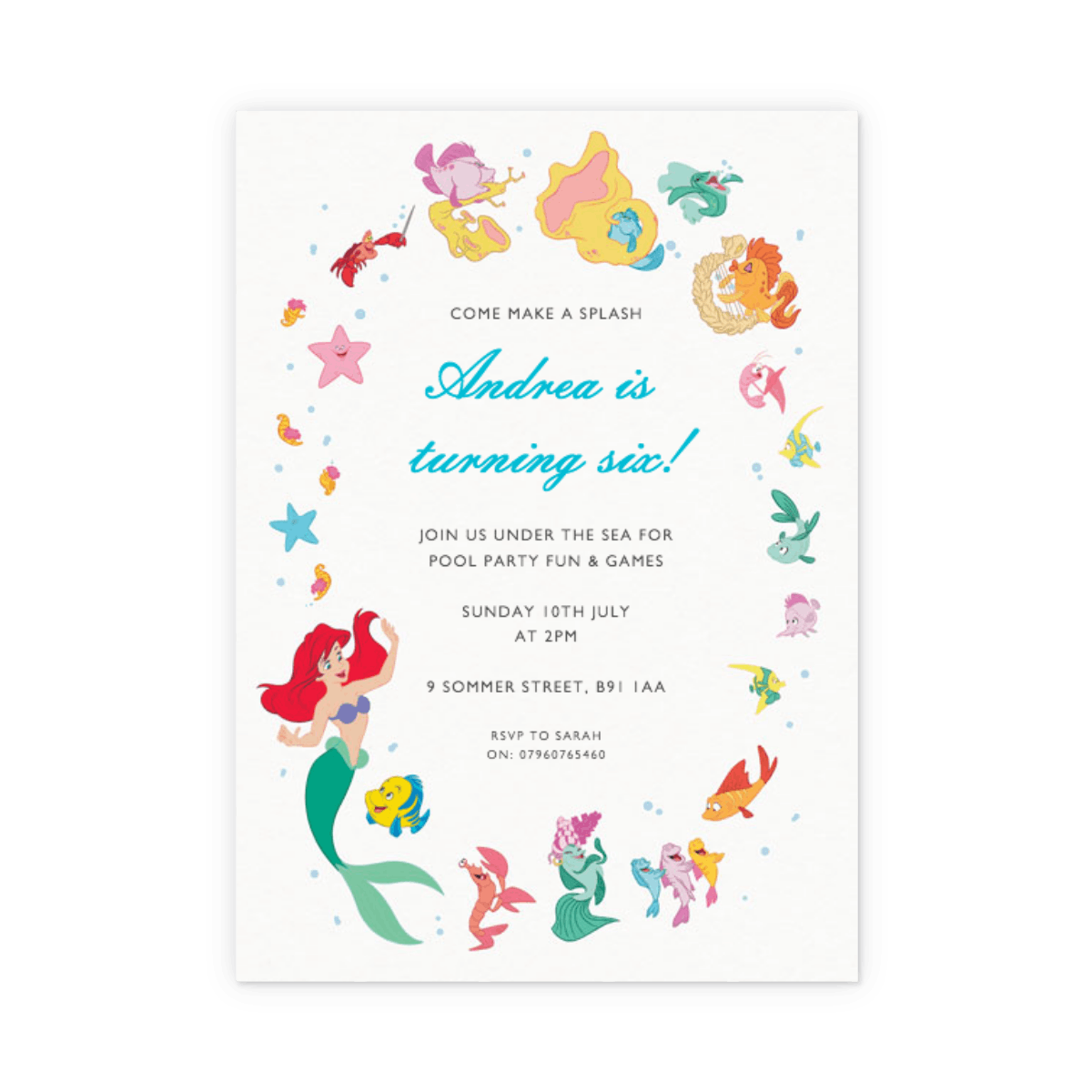 Ariel & Friends | Party Invitation | Papier
