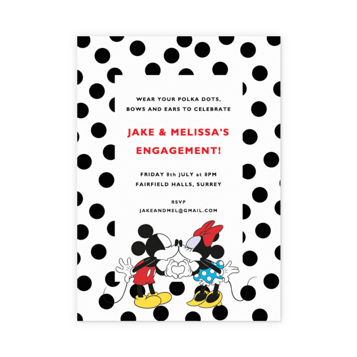 Dotty Mickey & Minnie Mouse | Party Invitation | Papier