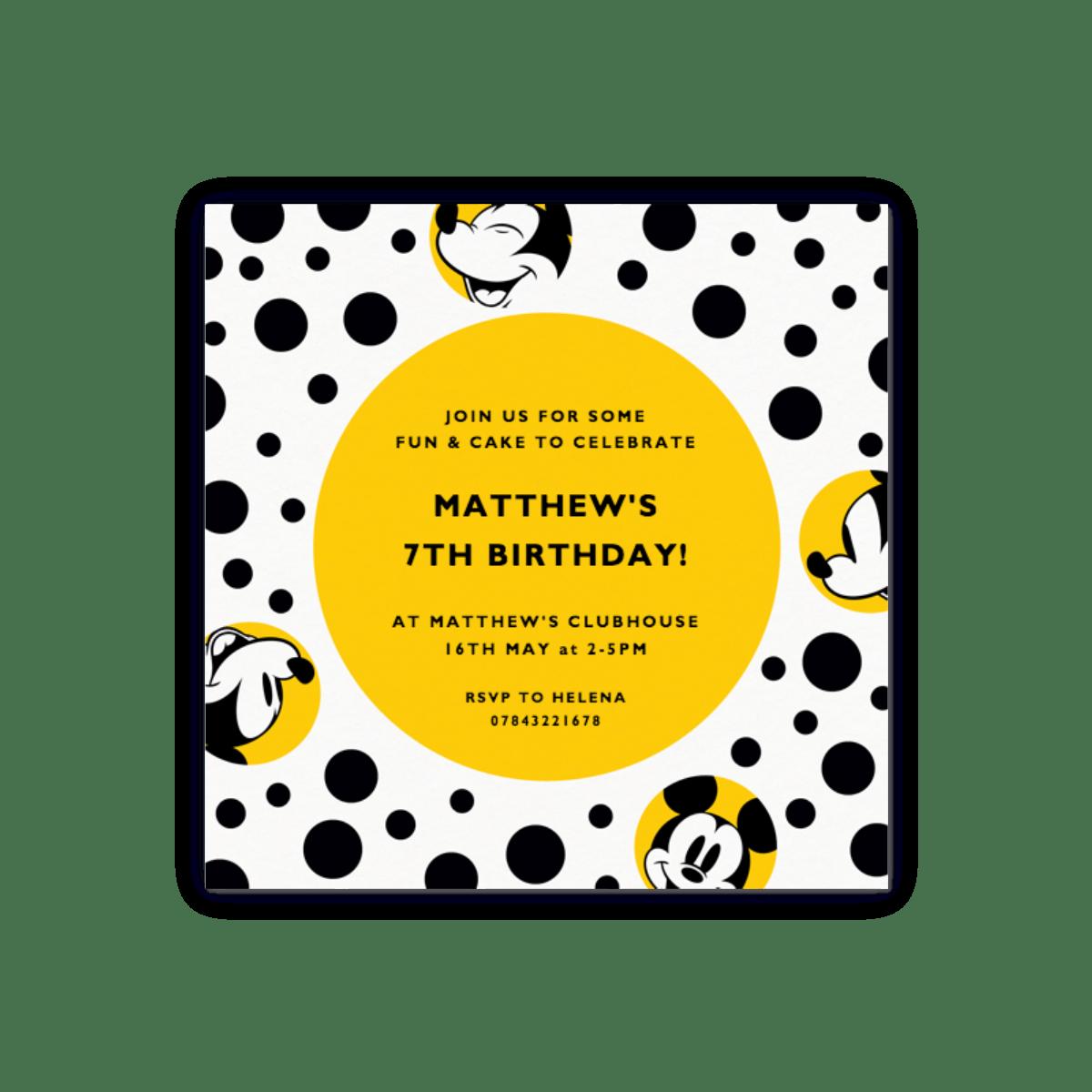 Micky Maus | Partyeinladungen | Papier