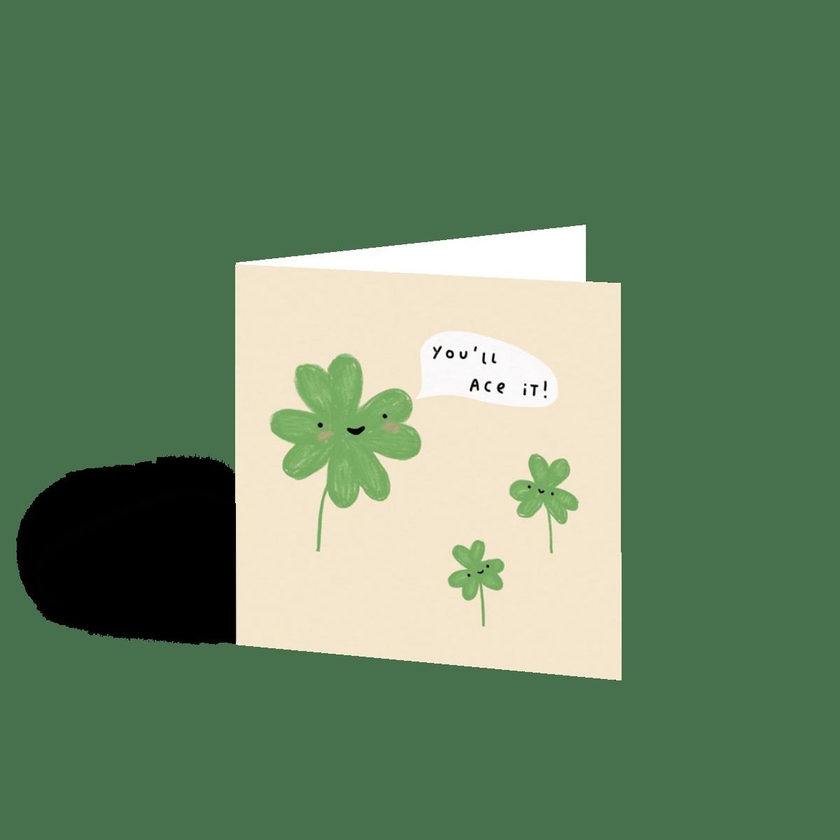 Four Leaf Clover Good Luck Card Papier