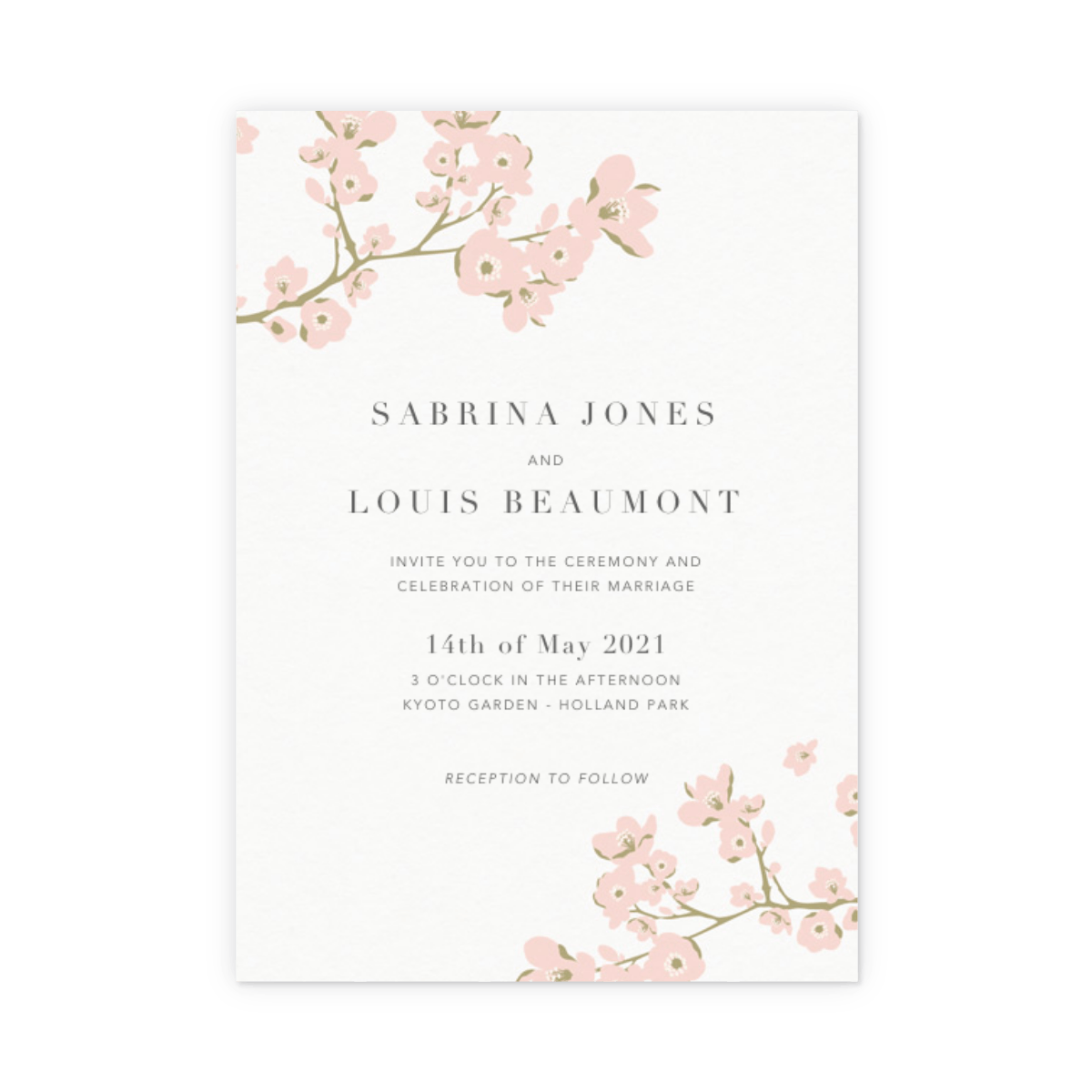 cherry blossoms wedding invitation papier