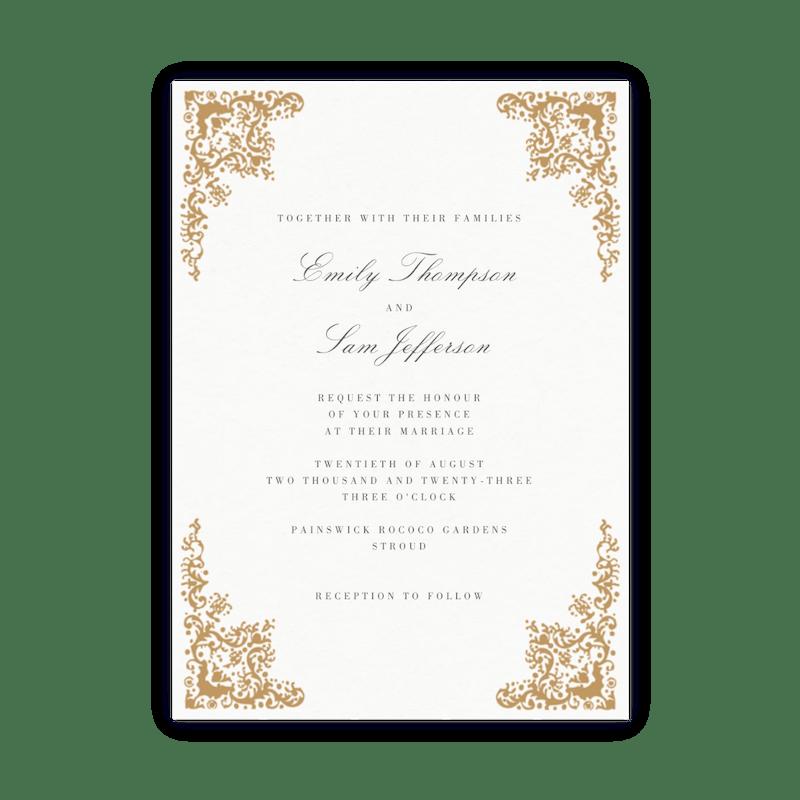 Gold Border Wedding Invitation Papier