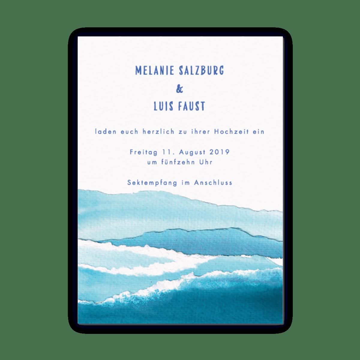 Nautische Wellen   Hochzeitseinladungen   Papier