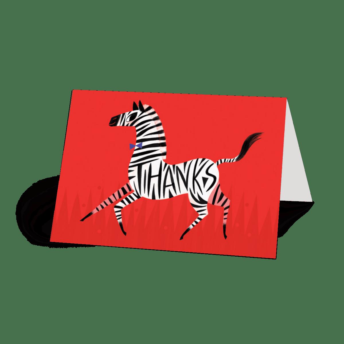 Zebra Thanks | Thank You Card | Papier