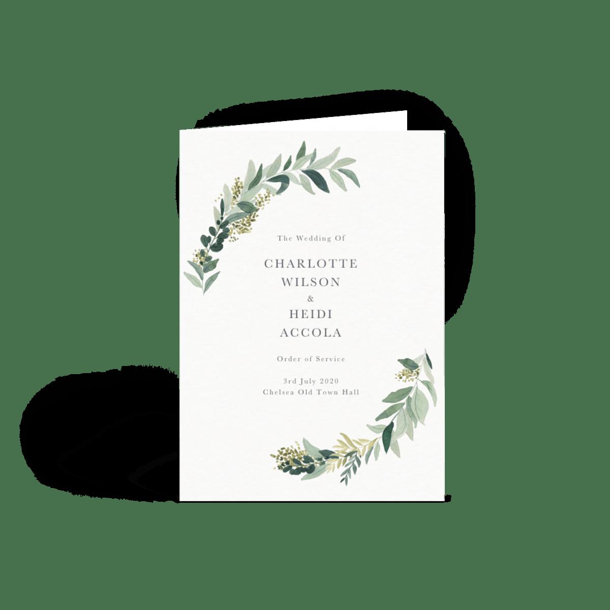 Wedding Order Of Service.Green Foliage