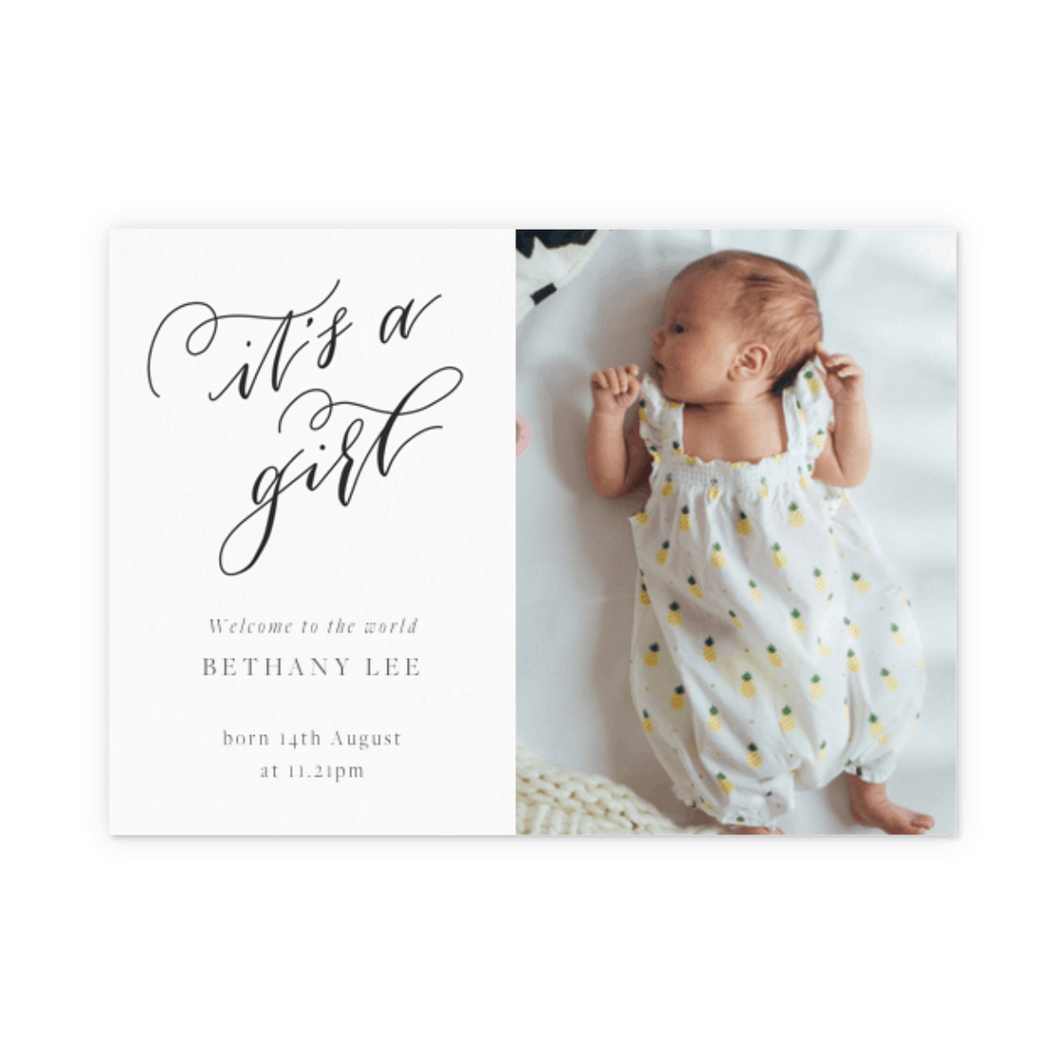 It's A Girl Calligraphy | Birth Announcement | Papier